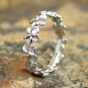 Plumeria flower lei Hawaiian 925 wedding ring